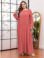 povoljno -Žene Shift haljina Maks haljina - Dugih rukava Prugasti uzorak Print Proljeće Jesen Ležerne prilike Elegantno Dnevno Vikend Rukav-krilo 2020 Red XL XXL XXXL XXXXL