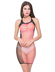 cheap -Women's Backless Mesh Babydoll & Slips Bodysuits Nightwear Color Block Black One-Size