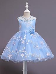 cheap -Kids Little Girls' Dress Jacquard Print White Blue Purple Above Knee Sleeveless Streetwear Cute Dresses Children's Day Slim