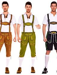 cheap -Carnival Oktoberfest Beer Trachtenkleider Men's Top Pants Bavarian Costume Dark Green Green Brown