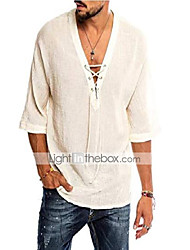 cheap -Men's Shirt Solid Color 3/4-Length Sleeve Holiday Tops Cotton White