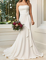 cheap -A-Line Wedding Dresses Sweetheart Neckline Court Train Satin Sleeveless Simple with Draping 2020