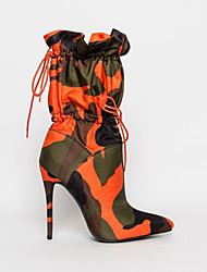povoljno -Žene Čizme Stiletto potpetica Krakova Toe Ležerne prilike Osnovni Dnevno Mikrovlakana Čizme do pola lista Hodanje Crno / crvena / Orange & Black / Plava