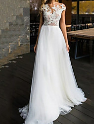 cheap -A-Line Wedding Dresses Jewel Neck Sweep / Brush Train Lace Tulle Sleeveless Beach with Appliques 2021