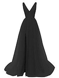 cheap -prom dresses deep v neck tulle lace sex split dresses long prom gown evening dress hfy290-black-us6