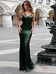cheap -Women's Sheath Dress Maxi long Dress - Sleeveless Solid Color Backless Sequins Summer Sexy Party Slim 2020 Black Red Green Royal Blue S M L XL