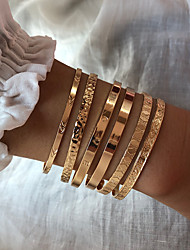 cheap -6pcs Women's Bracelet Bangles Cuff Bracelet Stacking Stackable Fashion Stylish Luxury Elegant Punk Trendy Alloy Bracelet Jewelry Gold For Gift Formal Date Beach Festival