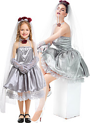 cheap -Ghostly Bride Dress Cosplay Costume Outfits Group Costume Kid's Adults' Women's Cosplay Vacation Dress Halloween Halloween Festival / Holiday Tulle Satin Gray Women's Easy Carnival Costumes / Gloves