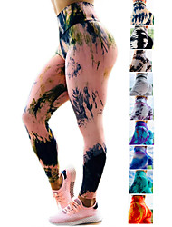 cheap -Women's High Waist Yoga Pants Ruched Butt Lifting Leggings Tummy Control Butt Lift 4 Way Stretch Tie Dye Dark Yellow Black / Red Black / Yellow Fitness Gym Workout Running Sports Activewear High