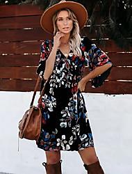 cheap -Women's A Line Dress Short Mini Dress Black 3/4 Length Sleeve Floral Print Summer V Neck Casual Slim 2021 S M L XL