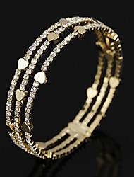 cheap -Women's White Bracelet Bangles Tennis Chain Heart Fashion Trendy Alloy Bracelet Jewelry Gold For Daily