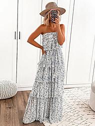 povoljno -Žene Ljetna haljina Maks haljina - Bez rukávů Print Proljeće Ljeto Boho 2020 Obala S M L XL