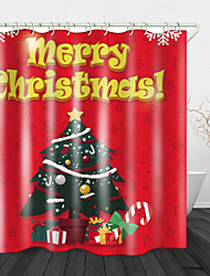 cheap -Beautiful Christmas Tree Print Waterproof Fabric Shower Curtain For Bathroom Home Decor Covered Bathtub Curtains Liner Includes With Hooks
