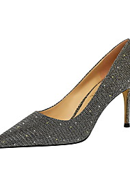 cheap -Women's Heels Pumps Pointed Toe Sexy Party & Evening PU Sequin Solid Colored Black Champagne Silver / 2-3