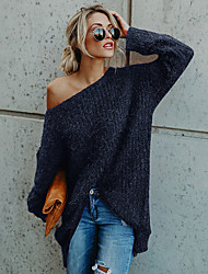 cheap -Women's Basic Knitted Solid Colored Plain Sweater Acrylic Fibers Long Sleeve Loose Sweater Cardigans Off Shoulder Fall Winter Blue