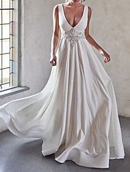 cheap -A-Line Wedding Dresses V Neck Sweep / Brush Train Satin Sleeveless Country with Crystal Brooch 2021