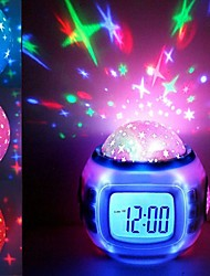 cheap -Music Alarm Clock Sky Projector Light For Children Dimmable Color-Changing AAA Batteries Powered 1pc