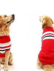 cheap -dog sweater pet winter sweaters striped holiday for large dog & #40;red, xl& #41;