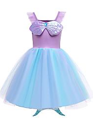 cheap -The Little Mermaid Dress Girls' Movie Cosplay Vacation Dress Purple Dress Halloween Carnival Masquerade Polyester / Cotton