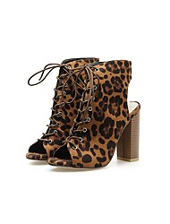 cheap -Women's Heels Pumps Peep Toe Sexy Daily Party & Evening Leopard Suede Booties / Ankle Boots Walking Shoes Leopard