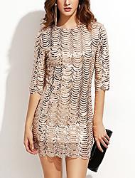 cheap -Women's A-Line Dress Short Mini Dress - Half Sleeve Solid Color Sequins Zipper Summer Elegant Party Club 2020 Black Blue Gold S M L XL