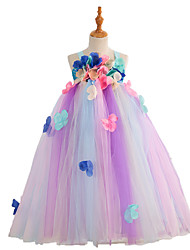 cheap -Kids Girls' Flower Cute Sun Flower Rainbow Jacquard Mesh Patchwork Print Sleeveless Midi Dress Rainbow