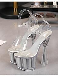 cheap -Women's Dance Shoes Pole Dancing Shoes Heel Flared Heel White Black Purple Buckle