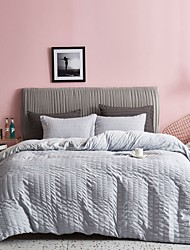 cheap -Seersucker Duvet Cover Set 3 Pieces Nature Textured Style Soft Lightweight Water-Washed Microfiber Bedding Set with Zipper and Corner Ties