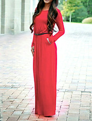 cheap -Women's Shift Dress Maxi long Dress - Long Sleeve Solid Color Fall Winter Casual 2020 Black Purple Red Fuchsia S M L XL