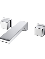 cheap -Bathroom Sink Faucet - Wall Mount / Waterfall Chrome Wall Mounted Two Handles Three HolesBath Taps