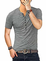 cheap -Men's T shirt Solid Color Short Sleeve Going out Tops Streetwear flecking gray Flower Khaki Flower blue