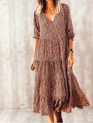 cheap -Women's Swing Dress Midi Dress - Long Sleeve Print Print Summer V Neck Casual Hot Boho vacation dresses Loose 2020 Brown S M L XL XXL 3XL