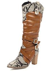 povoljno -Žene Čizme Kubanska potpetica Okrugli Toe Ležerne prilike Osnovni Dnevno Color block PU Čizme do koljena Hodanje Crn / Bijela