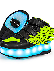 cheap -Boys' Girls' Sneakers LED Shoes USB Charging Luminous Fiber Optic Shoes PU Synthetics Lace up Big Kids(7years +) Daily Walking Shoes Buckle LED Luminous White Black Red Fall Winter / Square Toe