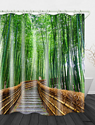 cheap -Bamboo Forest Trail Shower Curtains & Hooks Modern Polyester New Design