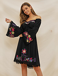 cheap -Women's A-Line Dress Knee Length Dress - Long Sleeve Floral Lace Embroidered Ruched Summer Off Shoulder Casual Cotton Slim 2020 Black S M L XL XXL