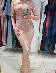 cheap -Sheath / Column Sexy Sparkle Engagement Formal Evening Dress One Shoulder Long Sleeve Floor Length Sequined with Sequin 2020