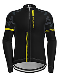 cheap -21Grams Men's Long Sleeve Cycling Jersey Winter Spandex Polyester Black Red Yellow Patchwork Camo / Camouflage Bike Jersey Top Mountain Bike MTB Road Bike Cycling Thermal Warm UV Resistant Breathable