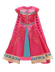 cheap -Princess Dress Cosplay Costume Girls' Movie Cosplay Vacation Dress Halloween Fuchsia Dress Cloak Halloween Carnival New Year Polyester / Cotton