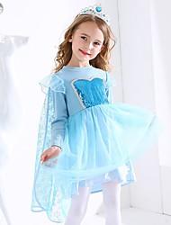 cheap -Kids Girls' Sweet Cartoon Long Sleeve Knee-length Dress Blue
