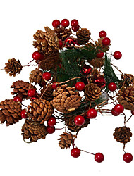 cheap -200CM Red Berry Christmas Garland Lights 20LED Copper Fairy Lights Pinecone String Lights for Xmas Holiday Tree Home Decoration