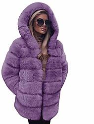 povoljno -ženski kaputi od kaputa od umjetnog krzna, ležerni zimski topli jednobojni dugi luksuzni kaput s kapuljačom (ljubičasti, m)
