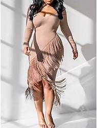 cheap -Women's A-Line Dress Knee Length Dress - Long Sleeve Solid Color Tassel Fringe Fall V Neck Sexy Party Club Slim 2020 Black Blue Blushing Pink S M L XL