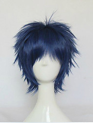 cheap -Kuroko no Basket Aomine Daiki Cosplay Wigs Unisex Layered Haircut 12 inch Heat Resistant Fiber Curly Blue Green Teen Adults' Anime Wig