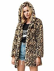 povoljno -ženski kaput od umjetnog krzna leopard dugi rukav jakna od parka zima topli kaput s kapuljačom s kapuljačom u kaki kaki