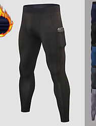 cheap -YUERLIAN Men's Running Tights Leggings Compression Pants Athletic Base Layer Bottoms with Phone Pocket Fleece Spandex Winter Fitness Gym Workout Performance Running Training Breathable Quick Dry