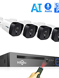 cheap -Hiseeu 8CH 5MP POE NVR Kit H.265 Security Camera System Audio Record AI IP Camera Outdoor Waterproof P2P Video Surveillance Set