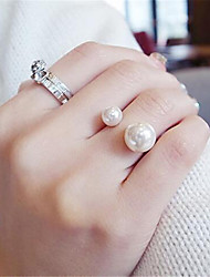 cheap -Open Cuff Ring 3D White Imitation Pearl Alloy Precious Fashion 1pc Adjustable / Women's / Adjustable Ring