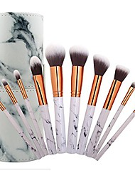 cheap -10pcs pro marble makeup brush set with marble brusher holder, for loose powder, contour, shade, highlighter, eyeshadow and foundation