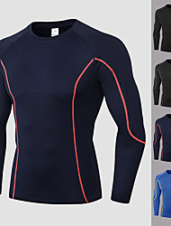 cheap -YUERLIAN Men's Patchwork Compression Shirt Running Shirt Athletic Long Sleeve Spandex Breathable Quick Dry Soft Fitness Gym Workout Performance Running Training Sportswear Tee Tshirt Top Black Blue